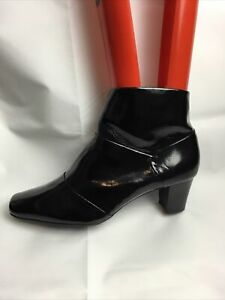 M & S Collection Ladies Ankle Boots UK Size 5.5 EU 38.5 Black Patent Leather