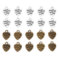 50 Pcs Metal Heart Labels Tag Made with Love DIY Clothing Sewing Handmade Supply