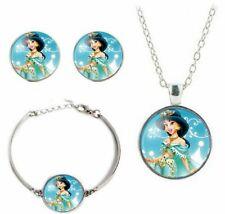 Jasmine Princess Glass Domed Pendant Necklace, Earrings & Bracelet Jewelry Set