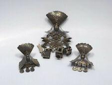 Vtg Truman Bailey Peru Sterling Silver Peacock Bird w/ Charms Brooch & Earrings