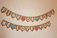 Pink or Blue Banner Gender Reveal Bunting Girl Boy. Baby Shower. Mum to be party