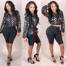 Women Long Sleeve Colorful Plaid Print Bodycon Cropped Casual 2pcs Jumpsuit
