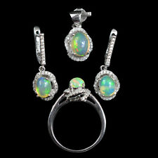 925 Sterling Silver Natural Gemstone Fire Opal Jewelry Set Ring Earring Pendant