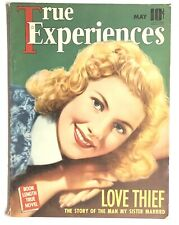 """May 1940 True Experiences """"LOVE THIEF"""" Romance Pulp Magazine with Joan Fontaine"""