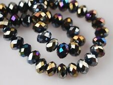Free Bulk 70pcs 8mm Crystal Glass Rondelle Faceted Charm Loose Spacer Beads Bulk