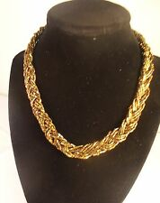 """New Premier Designs """"Cocoa """" 14"""" Necklace-Braided Strands of Gold-plated Beads"""
