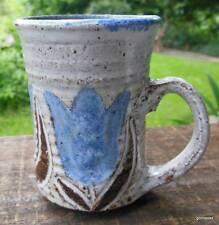 "Vintage Studio Pottery Mug Small Blue Tulips 3.5"""