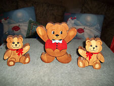 Hand Painted Teddy Bear Set - Home Decoration - Nursery Wall Hanging