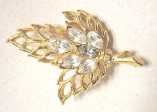 Vintage Three Blade Leaf Brooch 6 Clear Marquise Cut Rhinestones Gold Tone