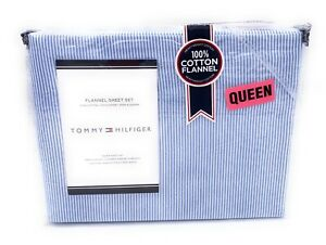 Tommy Hilfiger Navy & White Oxford Stripe Queen 4 Piece Flannel Sheet Set New