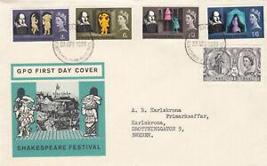 (881907) GB FDC Shakespeare Festival non-phoshor Stratford-upon-Avon 1964