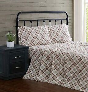 London Fog Printed Turkish Flannel Sheet Set, Twin, Multi Colored Plaid