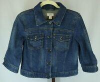 Ann Taylor Loft Womens Ladies Blue Denim Button Front 3/4 Sleeve Jean Jacket Sz6