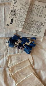 Bucilla Needlework Cross Stitch Blue Willow Glow Linen Tea Set tablecloth napkin
