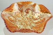 Vintage Carnival Marigold Glass Brockwitz 'Curved Star' & 'Headress' Fruit Bowl