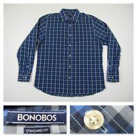 Bonobos Mens Plaid Blue Standard Fit Button Front Long Sleeve Shirt XL