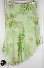 One Heart Womens M Pale Green Paisley Sheer Skirt Asymmetrical Hem Lined K55