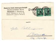 Germany INFLATION-Sc#241(pair)-TYPEWRITER CARD(Hand Addressed)-BORNA 6/9/23