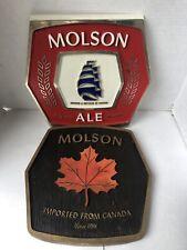 Ahhhh! Canada Ahhhh! Molson Canadian Beer Sign Maple Leaf Bar Pub  lot of 2