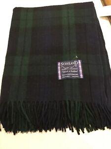 Tweed Scotland Modern Tartan Plaid 100% Wool Knee Rug Blanket Blackwatch Throw