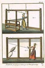"Diderot's ""Enclyclopedie"" -""SOIERIE Pl. 25"" (Silk Weaving) H-Col. Eng. -1751-72"