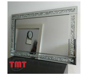 Loose diamond diamante gems crushed jewell mirror lounge bedroom bling 60x40cm