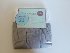 """American Baby Company"" Grey Percale Crib Skirt / Valance. Brand New. Bargain."