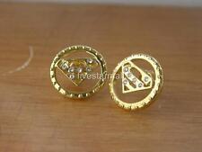 Superman Gold Rhinestone Stud Pair Earrings Hiphop Bling F/Box