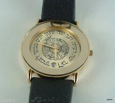 Israeli golden watch women girl ladies Adi quartz Judaica date  gift jew hebrew