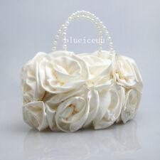 Ivory flower satin  of the bride hand bag