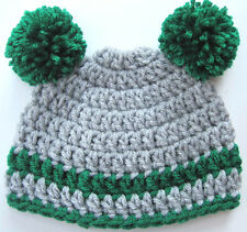 Crochet Baby Pom Pom Hat cap knit beanie boy/girl photo prop Made in Usa