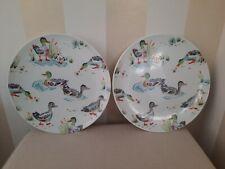 CATH KIDSTON PLATES Superb Pair of Duck Dessert / Tea Plates 23cm - Ex Cond