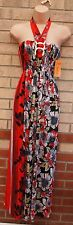 SYLVIA GOLD RED BLACK WHITE LYCRA FLORAL HALTERNECK SEXY LONG MAXI DRESS M L
