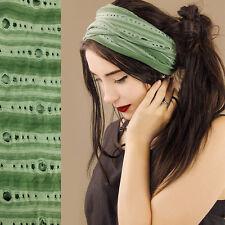 Green Tube Hair Wrap Headband Durag Dreads Extra Wide Stretch