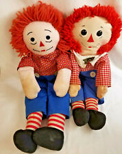 2 Vintage Raggedy Andy Ann Collectible Dolls Hasbro Softies Gruelle Plush