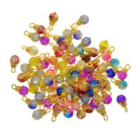 50 Filigree Flower Cap Pendant Glass Beads Charms DIY Jewelry Findings Craft