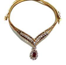 14k Yellow Gold Diamond & Ruby Necklace
