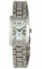 EMPORIO ARMANI SILVER TONE ,MOTHER OF PEARL DIAL ROMAN #'S BRACELET WATCH-AR0171