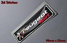 Peugeot Sport 3D Logo Aufkleber Abzeichen Schwarz/Chrome Hintergrund