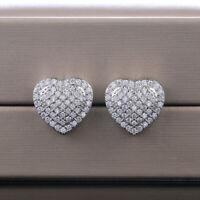 Elegant Heart 925 Silver Stud Earrings Women White Sapphire Wedding Jewelry