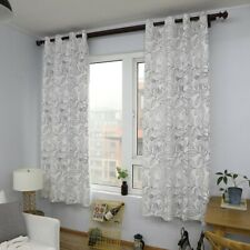 White Leaves Print Curtain Living Room Cotton Drapes Window Treatment Curtains