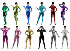 NEW.Unisex Spandex Lycra Headless Metallic Zentai Suits Front Zipper