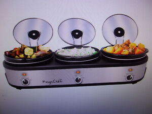 MegaChef Triple 2.5 Quart Slow Cooker and Buffet Server in Brushed Silver Black