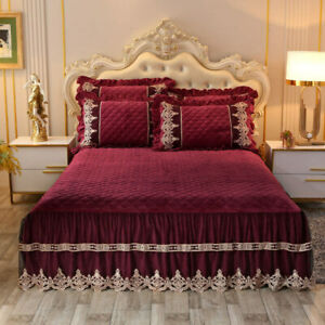 Luxury Lace Embrodery Velvet Quilted Bedspread King Pillow Shams 3pcs Sheet Soft