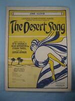 One Alone Sheet Music Vintage 1926 The Desert Song Sigmund Romberg Harbach (O)