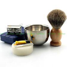 New Shaving Kit Vintage Safety Razor Mug Bowl Best Badger Brush Custom Made Soap