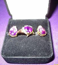 BEAUTIFUL14KT GOLD HEART AMETHYST 5 DIAMOND RING S7 & AMETHYST TEARDROP EARRINGS