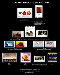 SELBSTKLEBENDE - alle des Jahres 2010**, 13 Werte postfrisch (bunte Rückseite)#S