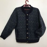 VINTAGE burberry's coat bomber cardigan wool alpaca lined blue men's size 6/M/L