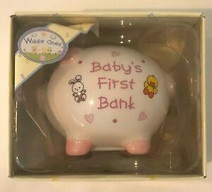 Russ Babys First Piggy Bank Baby Girl Item 15610 New Baby Shower Gift